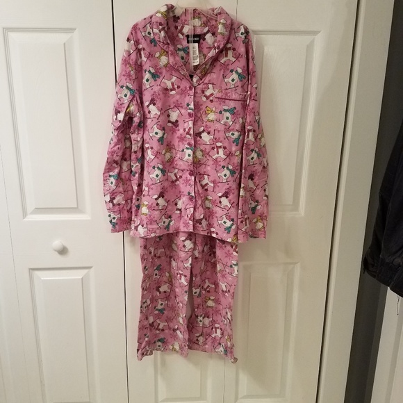 Sleepwear Set Black//Pink Zebra Print Joe Boxer 2-Piece Flannel Women/'s Pajama